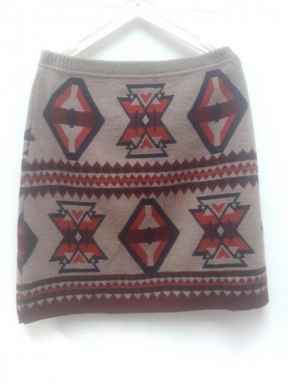 F&F spódnica mini spódniczka azteckie wzory 38...