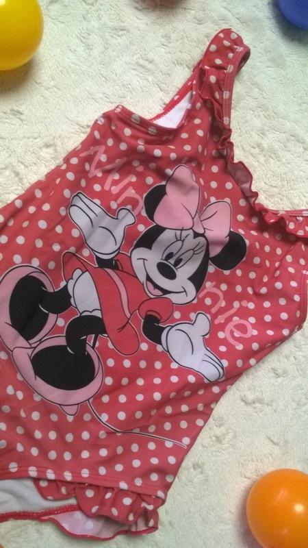 r 122 128 Strój kąpielowy z Myszką Minnie grochy Disney...