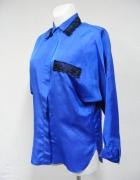 Koszula kobaltowa z koronką czarną fantazyjny krój...