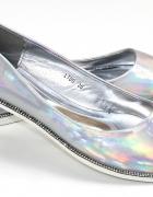 balerinki lustrzane srebrne
