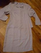 Liliowa sukienka z marynareczka