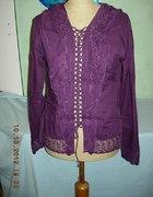 Fioletowa koszula tunika z koronką i haftami...