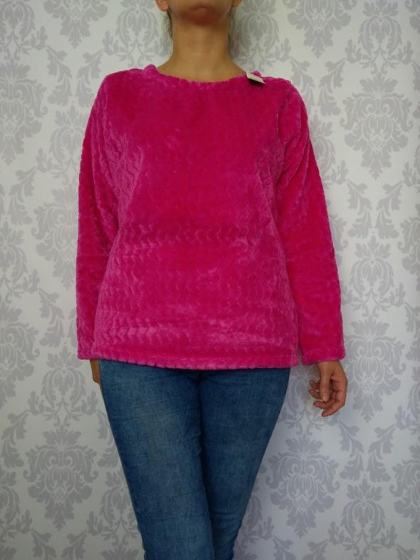 Miły puchowy gruby ciepły polarowy pulower różowy