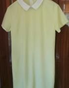 Żółta pastelowa cytrynowa sukienka z kołnierzykiem 40 L