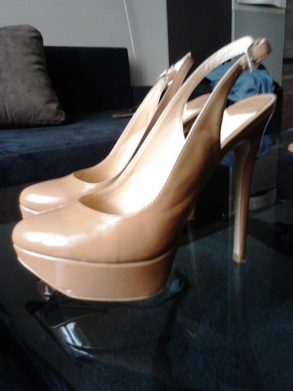 Szpilki karmelowe wysokie szpilki platformy sandały
