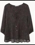 Czarna bluzka w kwiatki wzory boho Mango L wiązani...