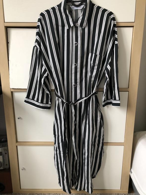 ZARA piękna sukienka koszulowa w czarno białe pasy XS