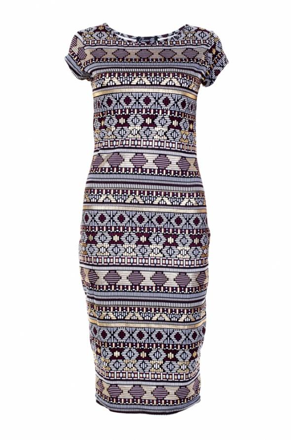Kolorowa sukienka midi w metaliczne azteckie wzory