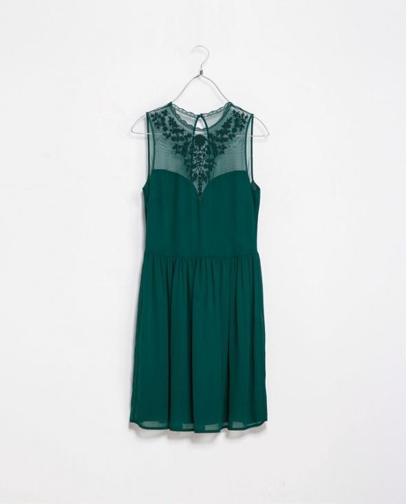 Szyfonowa elegancka sukienka Zara butelkowa zieleń XS...