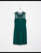 Szyfonowa elegancka sukienka Zara butelkowa zieleń XS