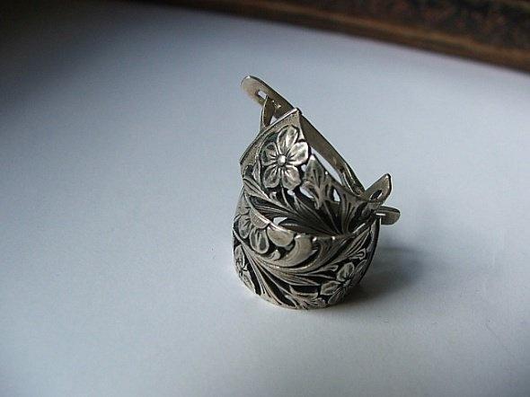 piękne stare srebrne kolczyki kwiaty próba srebra ukrainśka