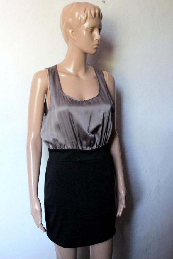 Elegancka czarno beżowa sukienka r M...