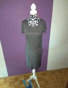 sukienka szara ze srebrną nitką