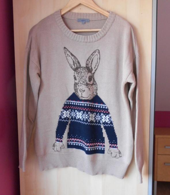 Asos beżowy sweter z zajączkiem nadruk print...