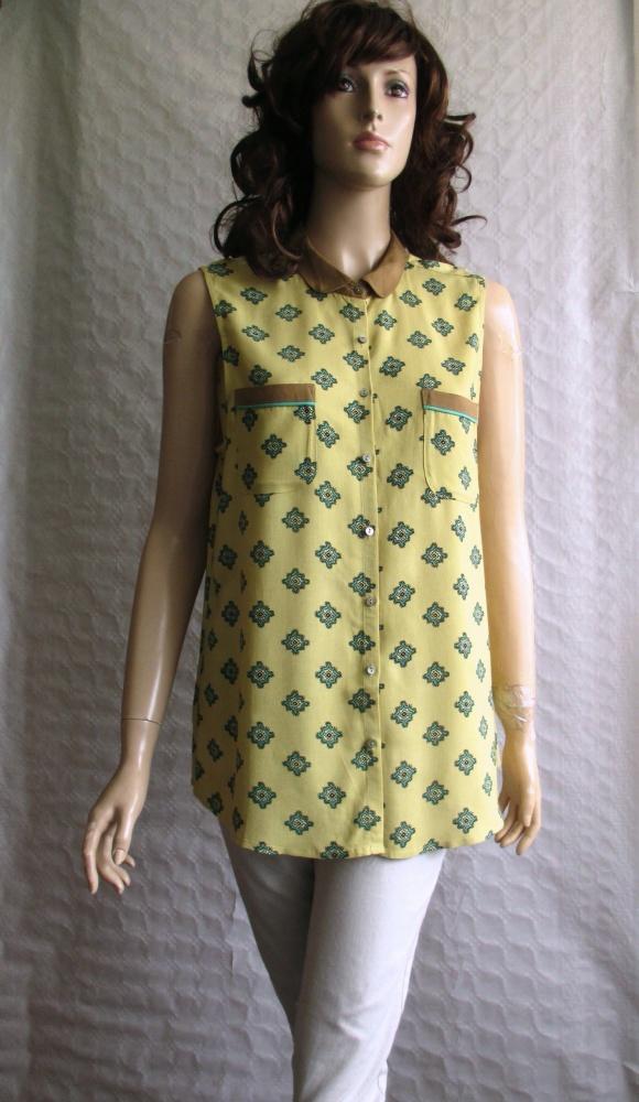 MAISON SCOTCH musztardowa bluzka tunika wzorek 40