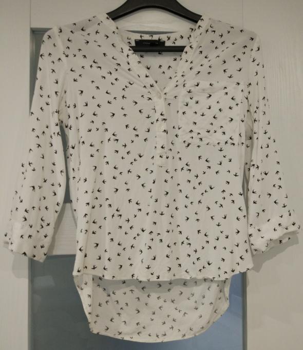 Biała koszula bluzka w ptaszki