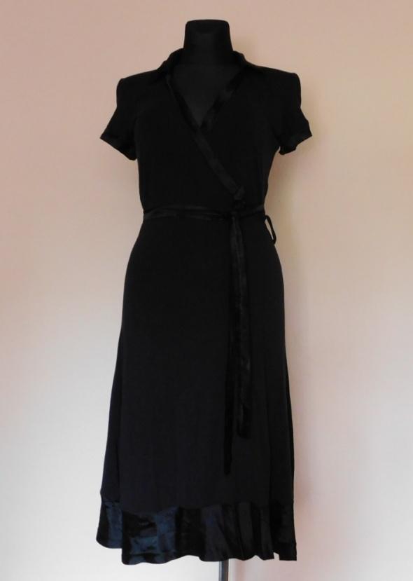Silver Creek czarna sukienka kopertowa midi 38...