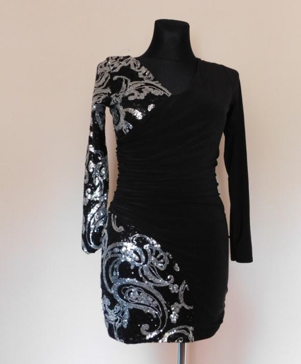 Quiz sexy sukienka czarna cekiny 38 40...