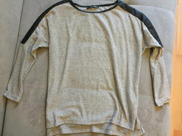 szara bluzka skórzane wstawki S 36