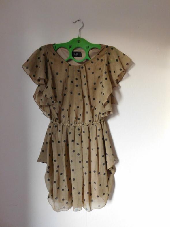 AX Paris sukienka tunika beż brąz mgiełka groszki...