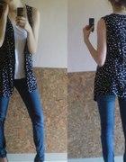 czarna kamizelka narzutka bluzeczka w kropki groch