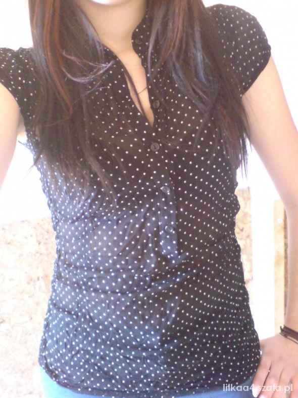 mgiełka bluzka koszula krótka rękaw grochy xs s m
