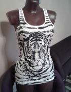 Biały top bokserka z motywem tygrysa