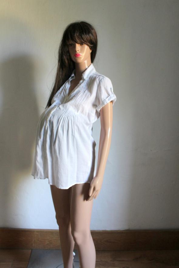 Elegancka biała koszula na krótki rękawek idealna na ciążę r M...