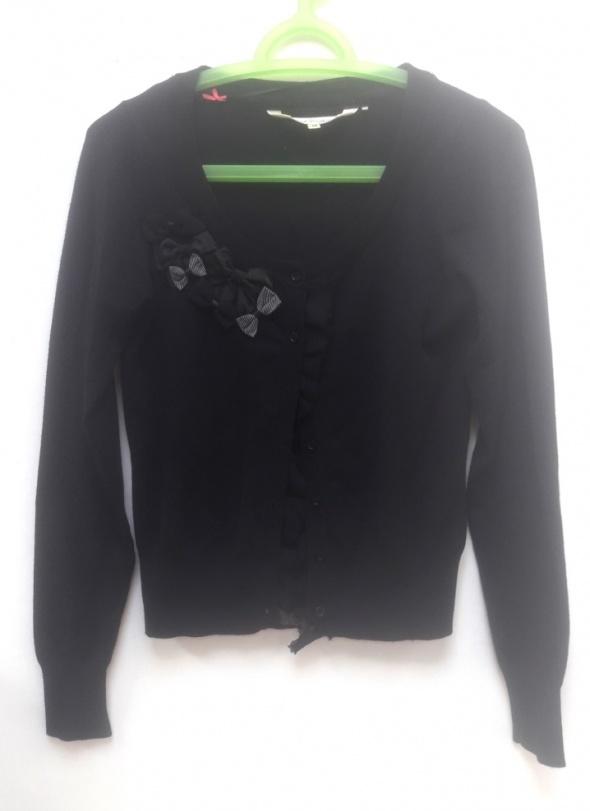 BUTIK czarny sweterek rozpinany sweter kokardki...