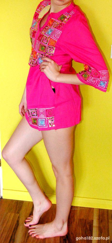 Tunika różowa orientalna japan style hippie etno...