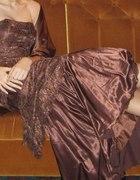 Czekoladowa orginalna suknia bez ramiączek...