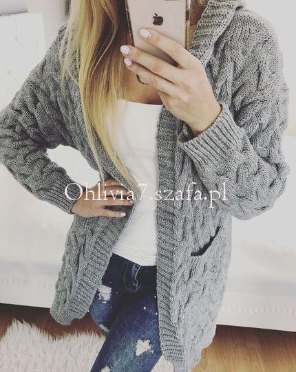 Sweter długi warkoczowy splot ITALY włoski