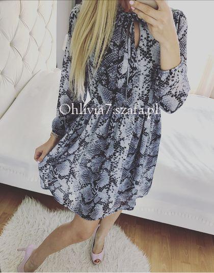 Sukienka wężowy wzór wąż szara cudo S