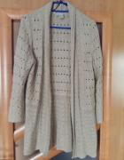 H&M ażurowa narzutka sweter nude beż styl zara