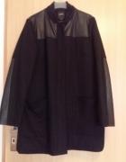 RESERVED płaszcz flauszowy skórzane wstawki zara