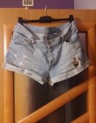 szorty H&M jeansowe przetarcia bermudy zara