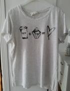 H&M jasnoszary top bluzka z nadrukiem zara