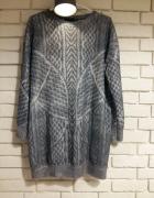 ZARA szara bluza z nadrukowanym wzorem plecionego swetra