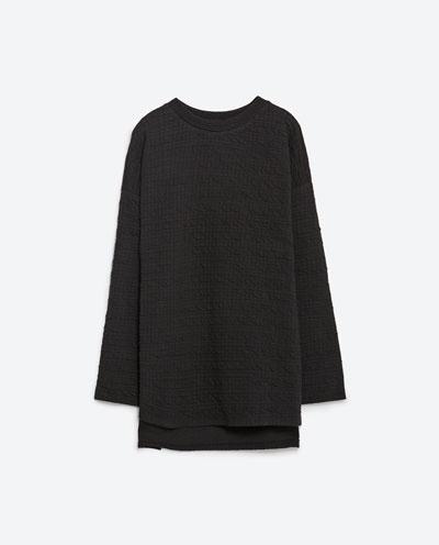 Bluzy ZARA czarna bluza marszczona asymetryczna