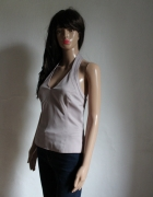 Liliowa bluzeczka zapinana na szyi halterneck r L...