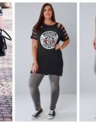 Szare spodnie dżinsy rurki duży rozmiar plus size wysoki stan...