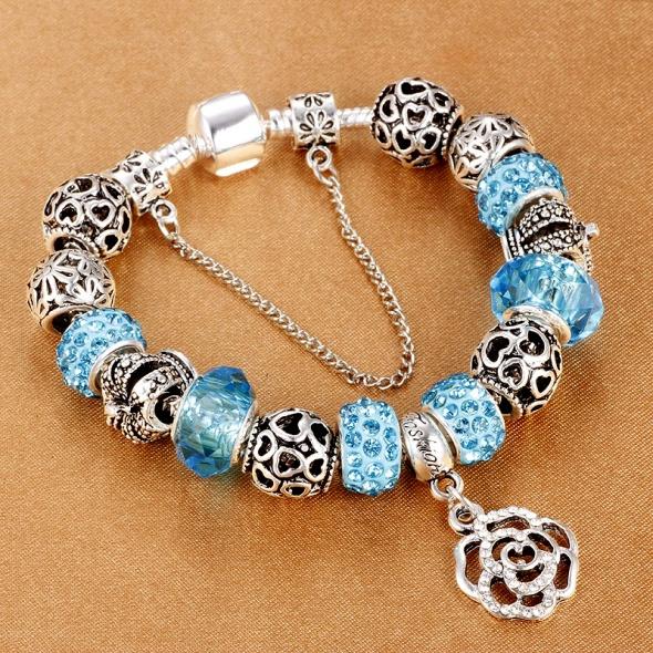 Bransoletka modułowa charms crystal blue 19cm