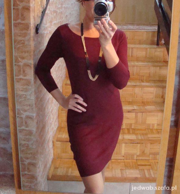 Bordowa dzianinowa sukienka Mohito 38 M 36 S