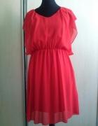 sukienka czerwona zwiewna 36 na lato elegancka...