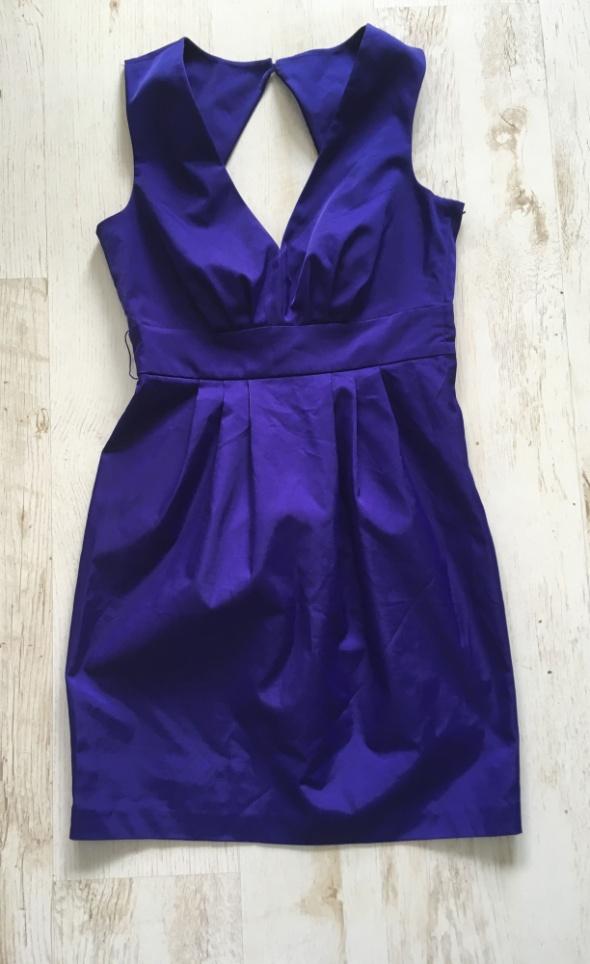 Sukienka fioletowa H&M M odkryte plecy