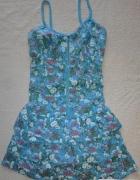 Urocza Niebieska Sukienka Floar Zip Falbanki S...