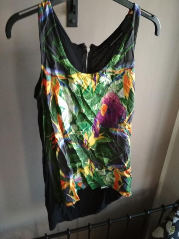 Bluzka 10 L warehouse czarna motyw tropikalny kwiaty papugi kol...