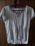 Klasyczny szary w paski tshirt Italian Fashion S...