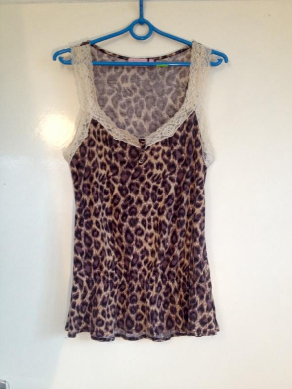 New Look piżama panterka XS S M 34 36 38 koronka ściągacz luźny krój elastyczna