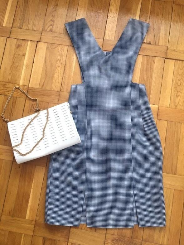 Granatowa sukienka w kratkę vintage